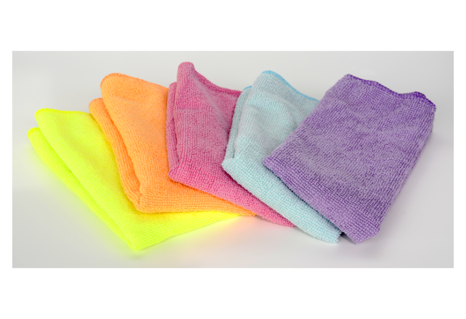 multicolored microfiber cleaning cloths folding in a cascading stack