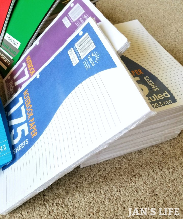 stack of notebook filler paper